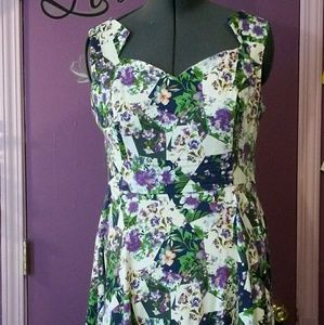 Hearts and Roses Purple Patchwork Print Dress